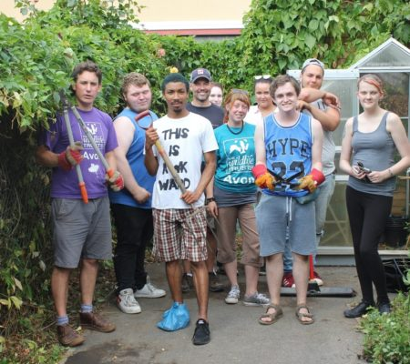 AWT with a group from tomorrow's people renovating a community garden in st pauls bristol